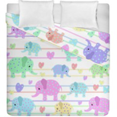 Elephant pastel pattern Duvet Cover Double Side (King Size)