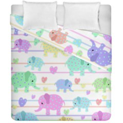 Elephant pastel pattern Duvet Cover Double Side (California King Size)