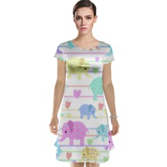 Elephant pastel pattern Cap Sleeve Nightdress