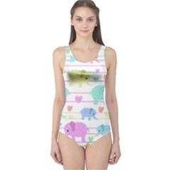 Elephant pastel pattern One Piece Swimsuit