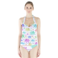 Elephant pastel pattern Halter Swimsuit