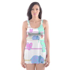 Elephant pastel pattern Skater Dress Swimsuit