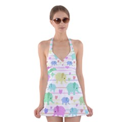 Elephant pastel pattern Halter Swimsuit Dress