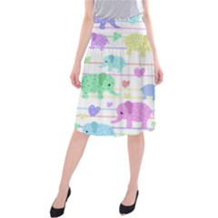 Elephant pastel pattern Midi Beach Skirt