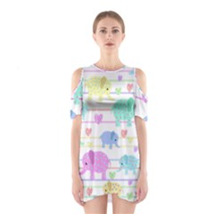 Elephant pastel pattern Shoulder Cutout One Piece