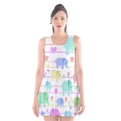 Elephant pastel pattern Scoop Neck Skater Dress