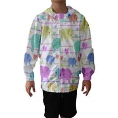 Elephant pastel pattern Hooded Wind Breaker (Kids)