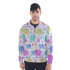 Elephant pastel pattern Wind Breaker (Men)