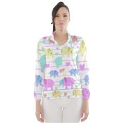 Elephant pastel pattern Wind Breaker (Women)