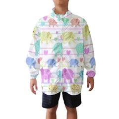 Elephant pastel pattern Wind Breaker (Kids)