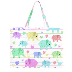 Elephant pastel pattern Large Tote Bag