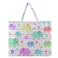 Elephant pastel pattern Zipper Large Tote Bag