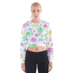 Elephant pastel pattern Women s Cropped Sweatshirt