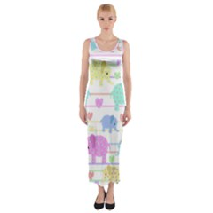 Elephant pastel pattern Fitted Maxi Dress