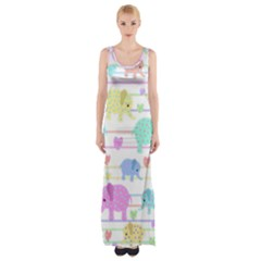 Elephant pastel pattern Maxi Thigh Split Dress