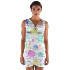 Elephant pastel pattern Wrap Front Bodycon Dress