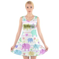 Elephant pastel pattern V-Neck Sleeveless Skater Dress