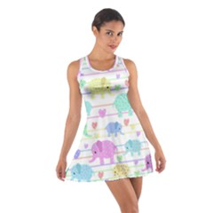 Elephant pastel pattern Cotton Racerback Dress