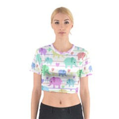 Elephant pastel pattern Cotton Crop Top