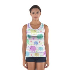 Elephant pastel pattern Women s Sport Tank Top