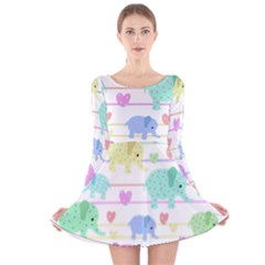 Elephant pastel pattern Long Sleeve Velvet Skater Dress