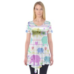 Elephant pastel pattern Short Sleeve Tunic