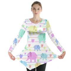 Elephant pastel pattern Long Sleeve Tunic