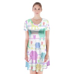 Elephant pastel pattern Short Sleeve V-neck Flare Dress