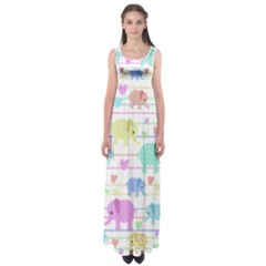 Elephant pastel pattern Empire Waist Maxi Dress