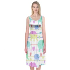 Elephant pastel pattern Midi Sleeveless Dress