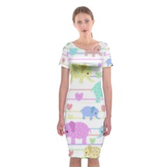 Elephant pastel pattern Classic Short Sleeve Midi Dress