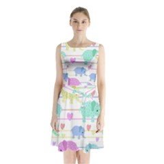 Elephant pastel pattern Sleeveless Chiffon Waist Tie Dress