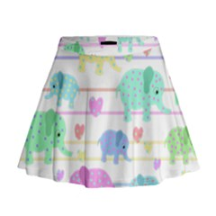 Elephant pastel pattern Mini Flare Skirt