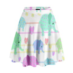 Elephant pastel pattern High Waist Skirt