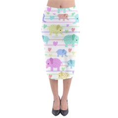 Elephant pastel pattern Midi Pencil Skirt