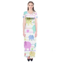 Elephant pastel pattern Short Sleeve Maxi Dress