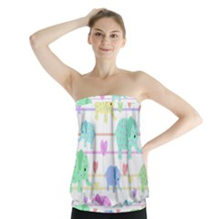 Elephant pastel pattern Strapless Top