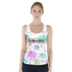 Elephant pastel pattern Racer Back Sports Top
