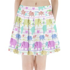 Elephant pastel pattern Pleated Mini Skirt