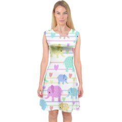 Elephant pastel pattern Capsleeve Midi Dress