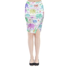 Elephant pastel pattern Midi Wrap Pencil Skirt