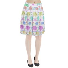 Elephant pastel pattern Pleated Skirt