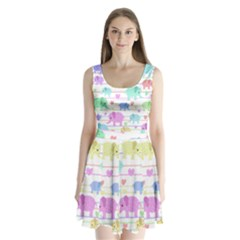 Elephant pastel pattern Split Back Mini Dress