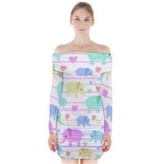 Elephant pastel pattern Long Sleeve Off Shoulder Dress