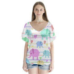 Elephant pastel pattern Flutter Sleeve Top