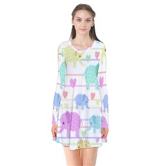 Elephant pastel pattern Flare Dress