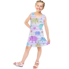 Elephant pastel pattern Kids  Tunic Dress