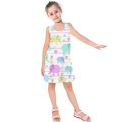 Elephant pastel pattern Kids  Sleeveless Dress