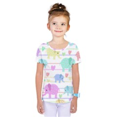 Elephant pastel pattern Kids  One Piece Tee