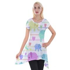 Elephant pastel pattern Short Sleeve Side Drop Tunic